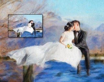 Portrait de mariage personnalisé. Portrait de couple. Tableau peint d'après photo – Portrait personnalisé à télécharger
