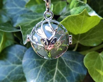 "Tree of Life Silver Ball Cage with 20mm Natural Gemstone Green Aventurine and 30"" Silver Necklace"