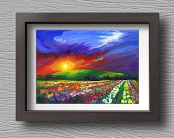 Art Print for Home, Printable art, Sunset Landscape, Art Landscape, Wall Art, Landscape painting, Digital print, Impressionist art, Flowers