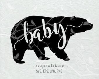 Baby Bear SVG File Bear Silhouette Cut File Cricut Clipart Print Vinyl wall decor, sticker Shirt Transfer Baby Svg