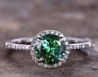 Emerald Engagement Ring 7mm Round Green Lab Created Gemstone Bridal Ring White Gold Plated CZ Diamond Halo Sterling Silver Promise Ring