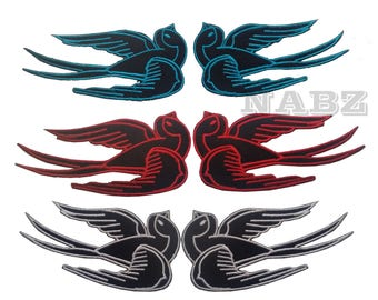 Sparrow Swallows Pair Embroidery iron on Patch Badge