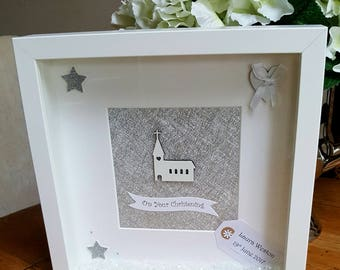 Christening - Handmade Beautiful Personalised Deep Box Frame