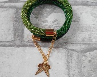 Green bracelet Beaded bracelet Wedding bracelet Gift for her  Valentine's day gift
