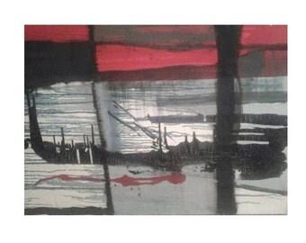 Hong kong harbor---original print on canvas