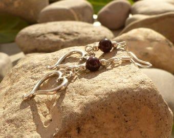 """Earrings """"Les Alabandines"""" Garnet Earrings Garnet jewelry hearts, Garnet, Garnet jewelry designer jewelry"""