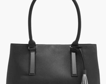 Structured Double Component Tote Bag - Top Handle Metal Trim Structured Tassel Detail Tote Bag