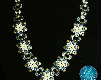 Handmade Women Jewelry, Beaded Necklace, Metallic Blue, Ivory colored beads