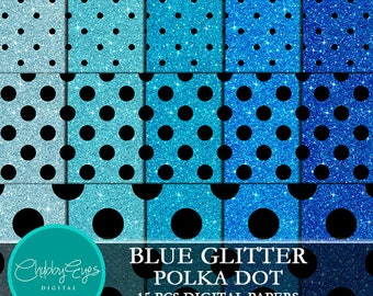 Blue Glitter Polka Dot Digital Papers, Scrapbook Papers Black Polka Dots Clipart  Instant Download
