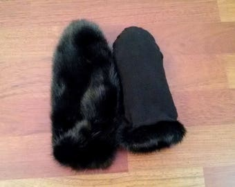 Mink mittens, fur mittens, fur gloves, mink gloves, warm mittens, black mittens, mittens, gloves, winter accessories