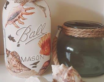 Hand Decorated Shell Mason Kilner Jar