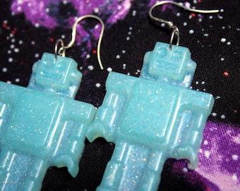Blue Robot Glitter Statement Earrings Sterling Silver Resin Dangles