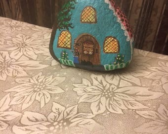 Turquoise Hand Painted Cottage Garden Rock