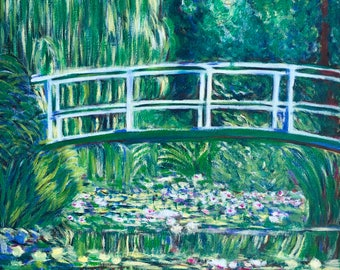 "Monet - White Water Lilies - Re-production [Hand Painted] Oil Painting 14"" X 18"" by KateXu"