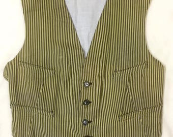 1920s Mens Yellow and Black Striped Cotton Ticking Waistcoat XS 35""