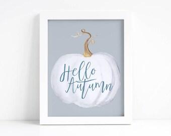 Hello Autumn Printable - Fall Printable - Fall Decorations - Fall Decor - Autumn Printable - Pumpkin Decor - Neutral Fall Decor - Wall Art