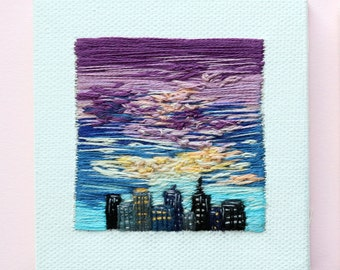 Hand Embroidered Skyline | Handmade | Wall Art | Home Decor |  | Minimalism | Tiny Art | Hand Embroidery | Textile Art | Souvenir| Landscape