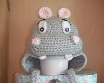 Handmade Crochet Hat With Earflaps - Hippo / 3-6 Months