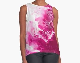 Original Art Print Contrast Tank Top Shirt - Raspberry