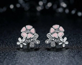 100% 925 Sterling Silver Poetic Cherry Blooms Flowers Stud Earrings For Women
