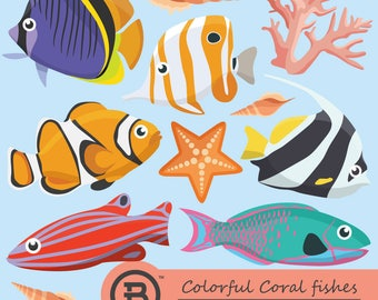 Colorful Coral fishes clipart, Fish clip art images, vector graphics, digital clip art, digital images, Sea animal clipart,