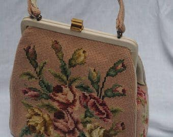 Vintage Needlepoint Purse Handbag Vogue Classy