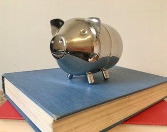 Leonard Vintage Silver Piggy Bank