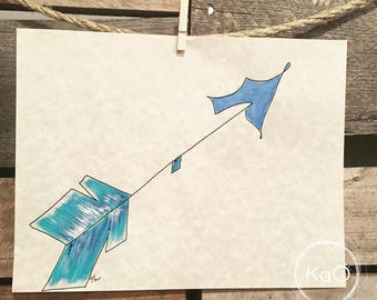 Acrylic painting on parchment - blue arrow illustration