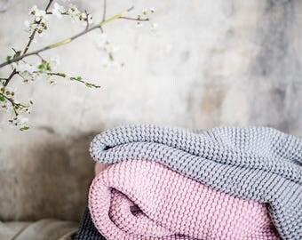 Linen Throw Blanket, stonewashed linen, waffle textured chunky blanket, linen blanket, linen bedspread, rustic, light grey