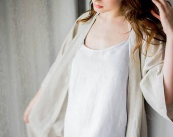 Linen night dress - linen nightgown, stonewashed softened linen slip dress, light grey