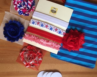 4th of July / 13 Piece Headband Kit/Independence Day/Make Your Own Headband Kit with Storage bag
