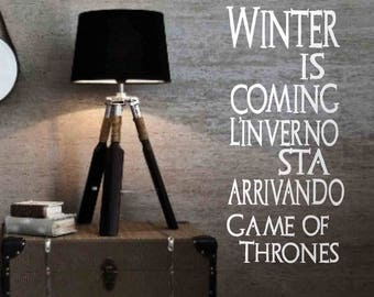 Game of Thrones - Wall stickers, Game of Thrones stickers, Game of Thrones quotes, Game of Thrones phrases, wall art, wall decor, tv series