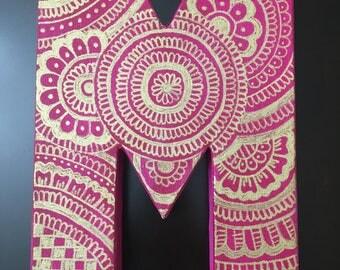 Mandala Design on Canvas Letter M