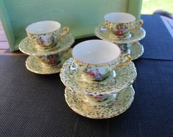 Six French Vintage Espresso (Demitasse) Cups and Saucers depicting the 'Ragonard Courting Scenes'