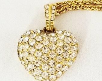 Heart Necklace Pave Rhinestone Signed Monet Vintage Jewelry