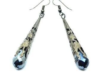 Gunmetal Black Deco Style Drop Earrings
