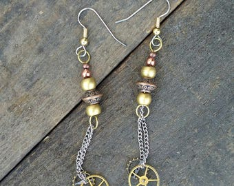 Steampunk Earrings, Mixed Metal Earrings, Gifts for Her