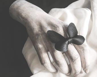 butterfly ring || butterfly jewelry || black vegan leather || faux leather || statement ring || goth ring || faux taxidermy || dark fashion