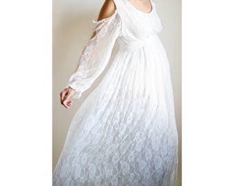 LILY GOWN  White Lace Maternity Gown, Cold Shoulder Dress, White Maternity  Dress,