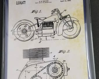Motorcycles Patent Art Prints Set