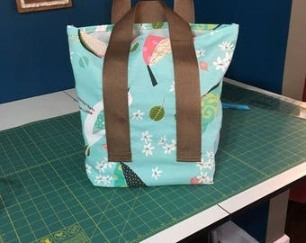 Shopping Tote in Aqua with Birds