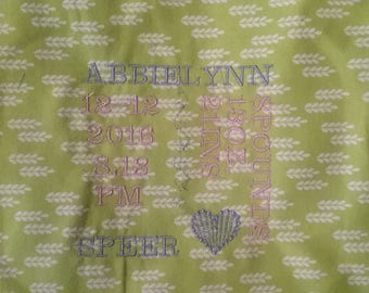 Embroidered Baby Blanket/Embroidered Wedding Blanket