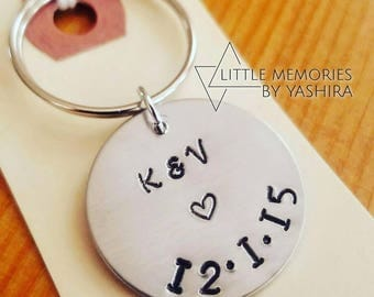 Circular Keyring customized with initials and date