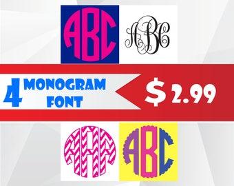 Interlocking  Vine Monogram font svg/Scalloped Circle Monogram font svg/Circle Monogram Font svg/Chevron Circle Monogram Font svg