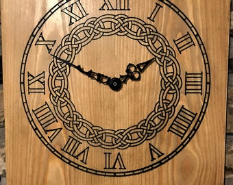 Wall mounted  Clock made from  solid waxed Pine with  Celtic knot design (Design 2)