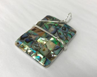 Rectangle Man Made Abalone Iridescent Shell Pendant