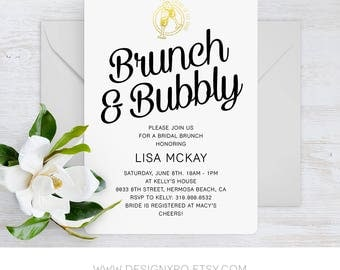 Printable Brunch & Bubbly Minimal Bridal Shower Invitation with Gold Champagne Emblem
