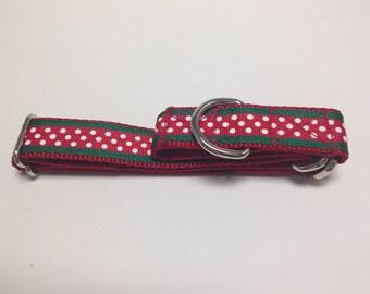 Martingale Dog Collar, Large Christmas Martingale Collar, Large Polka Dots Martingale Dog Collar, Large Dots Adjustable Dog Collar