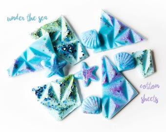Under the Sea | Cotton Sheets | Wax Melts (5 Oz) - Fresh Wax Melts - Wax Melts - Wax Brittle - Sea Shells - Hand Poured Wax - Handmade Wax