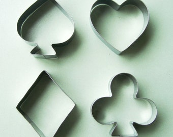 Poker Cookie Cutter Play Card Fondant Biscuit Pastry Stainless Baking Mold Set 4pcs